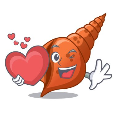 With heart long shell mascot cartoon vector illustration
