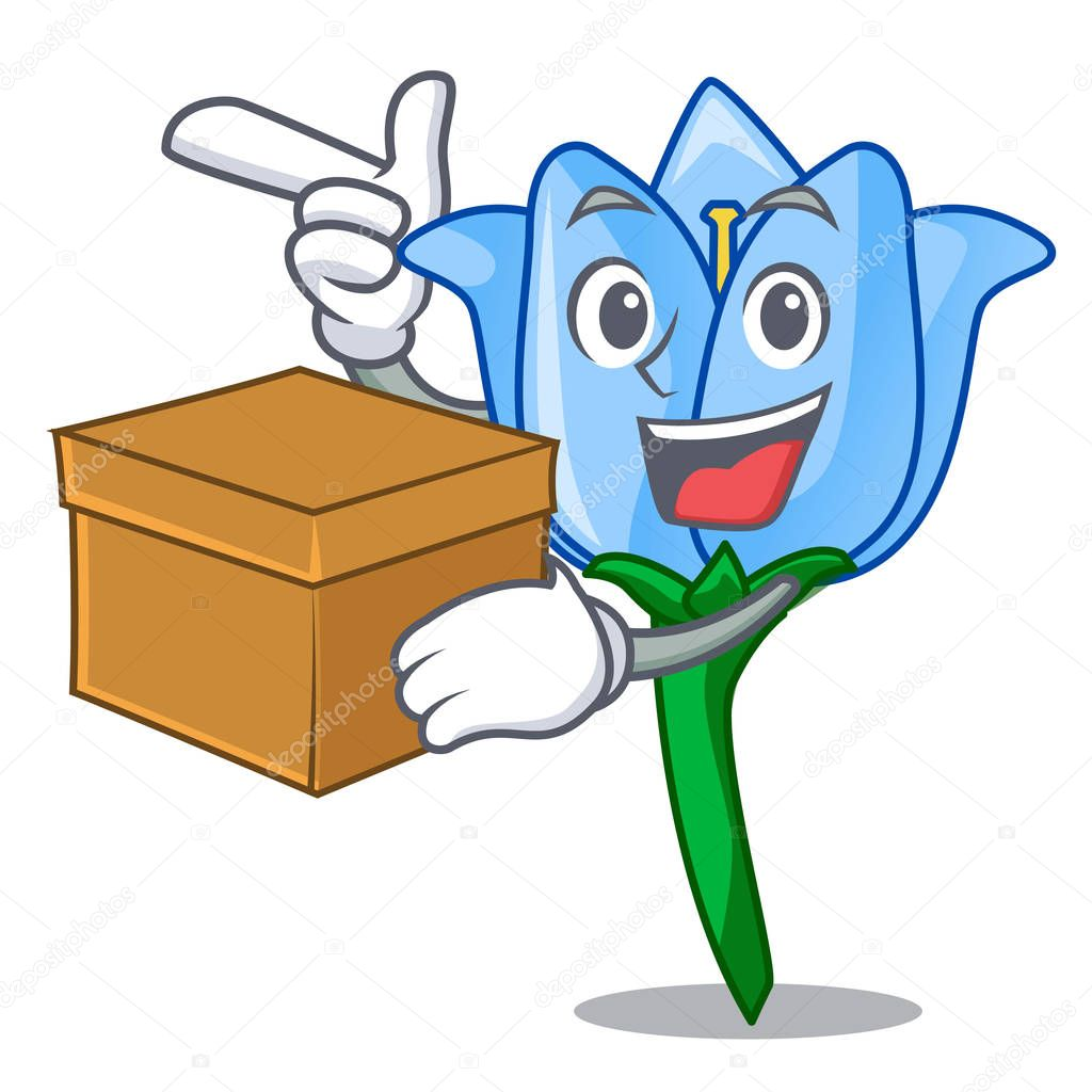 With box bell flower character cartoon