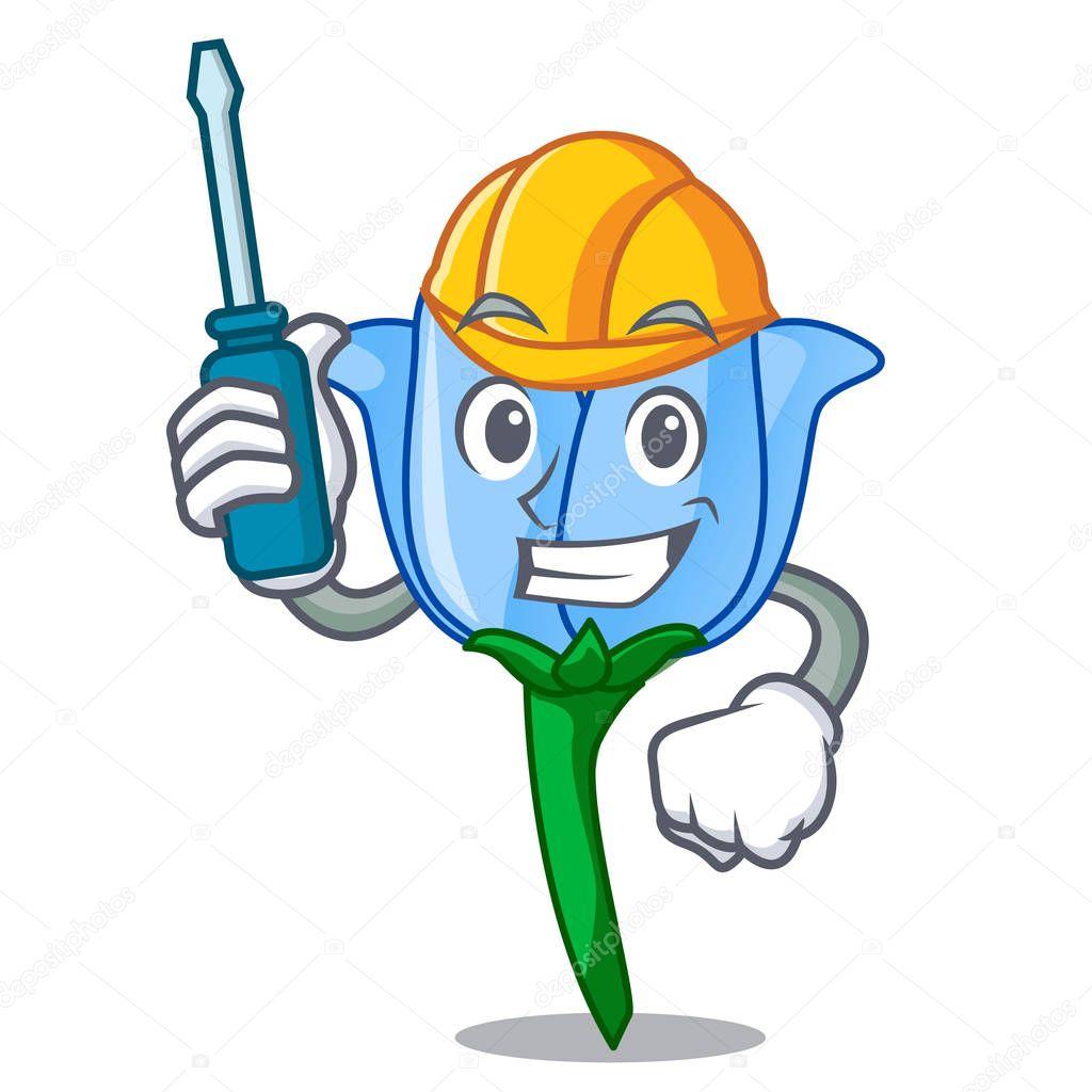 Automotive bell flower mascot cartoon
