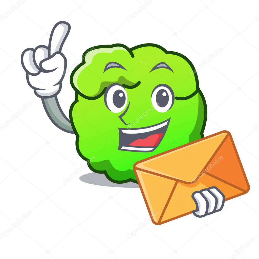 With envelope shrub character cartoon style