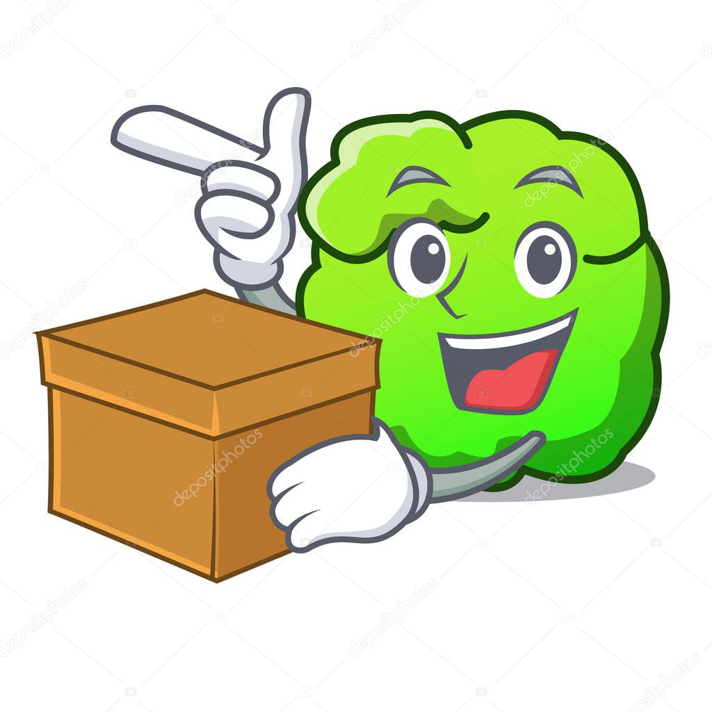 With box shrub character cartoon style