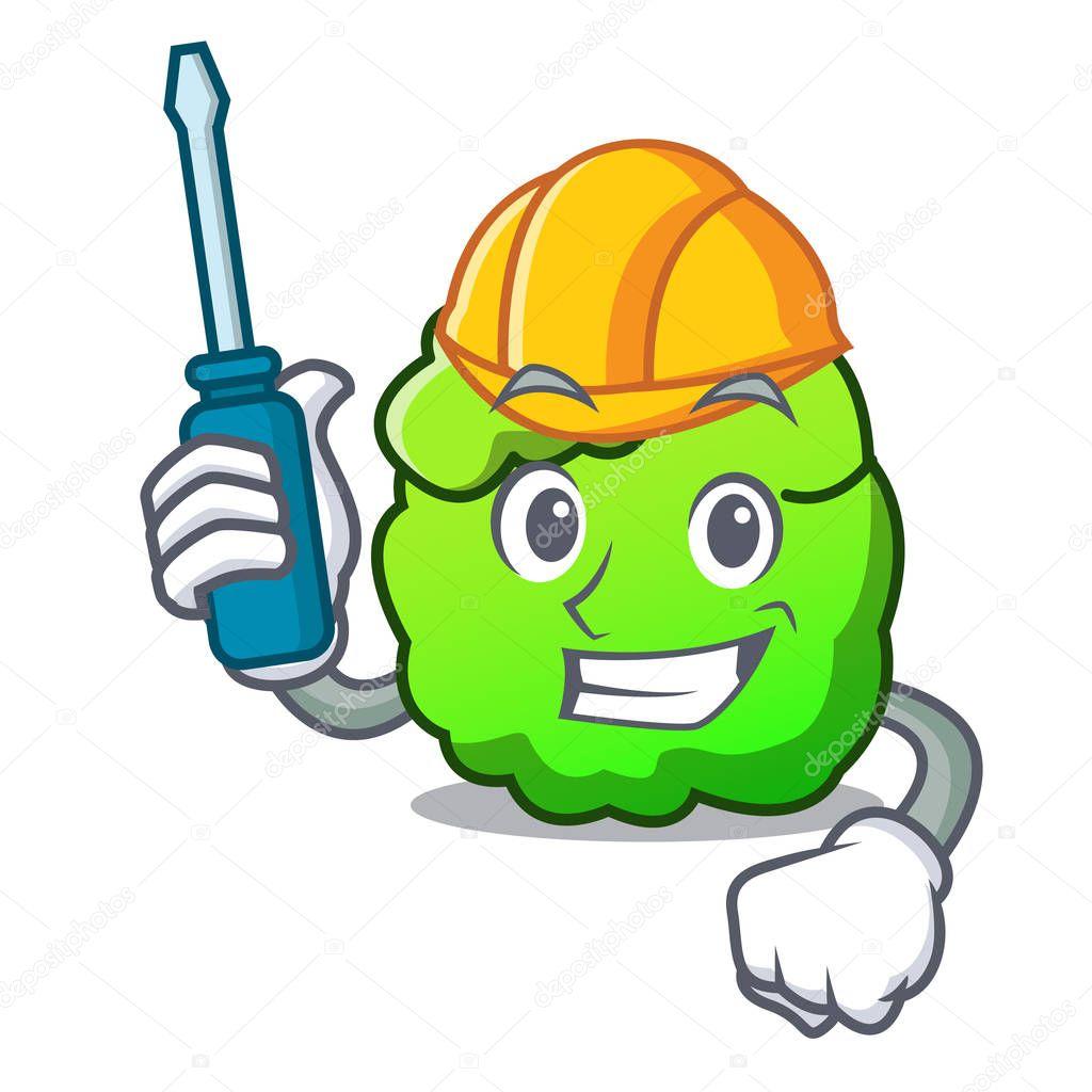 Automotive shrub mascot cartoon style
