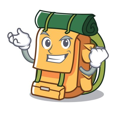 Successful backpack character cartoon style vector illustration