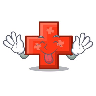 Tongue out cross mascot cartoon style vector illustration