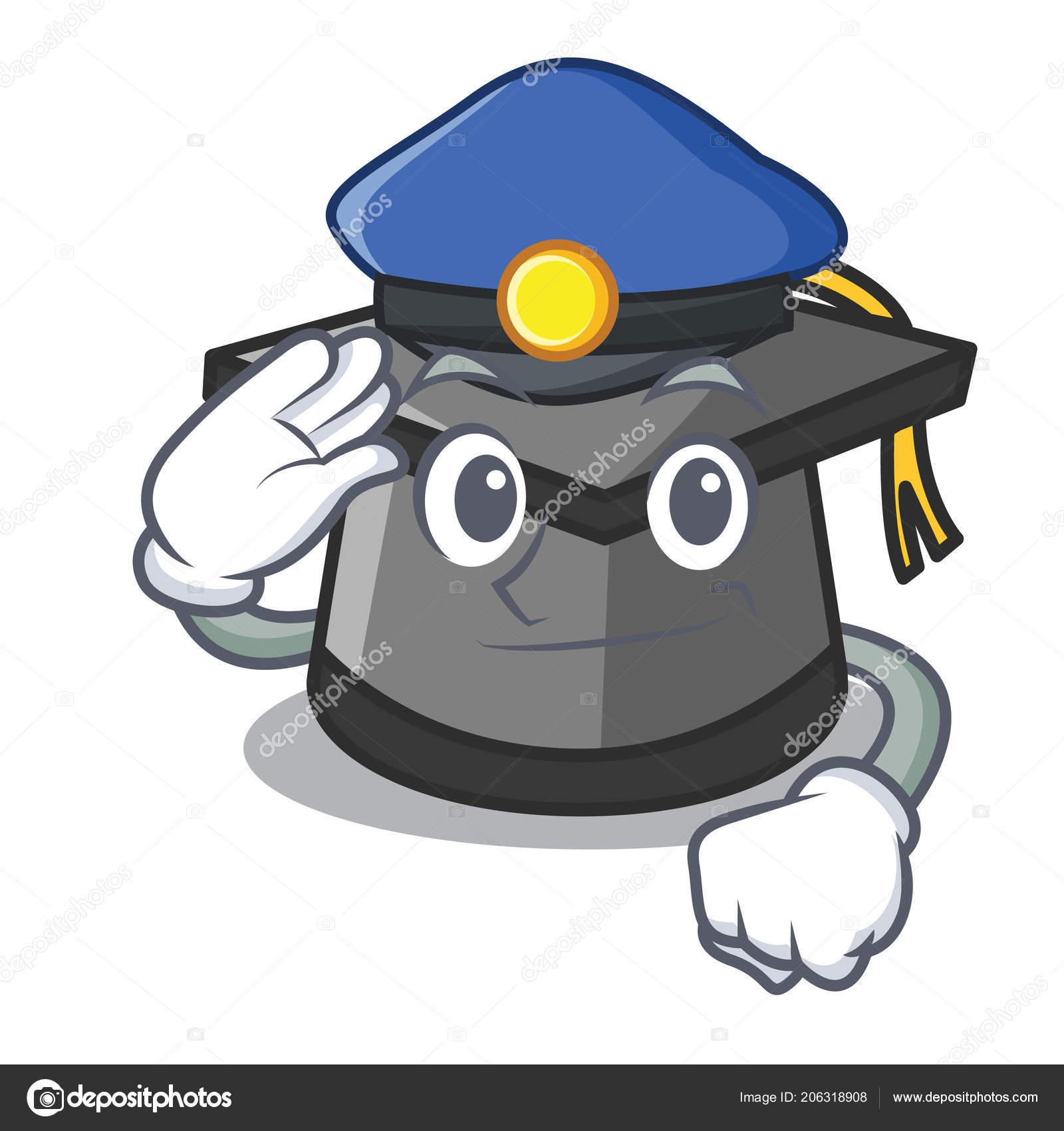 Policie Promoce Klobouk Charakter Kreslene Vektorove Ilustrace
