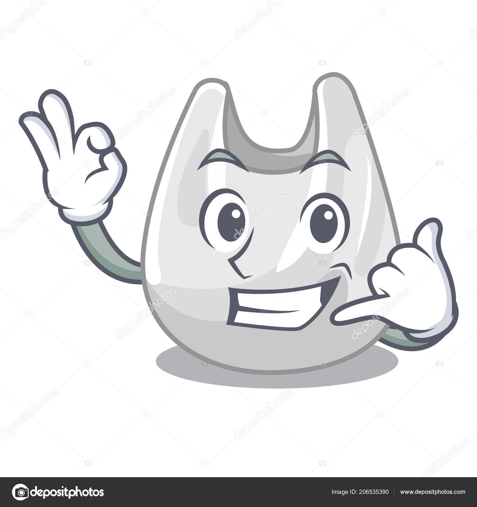Me Llaman Dibujos Animados Mascota De Bolsa De Plástico Archivo