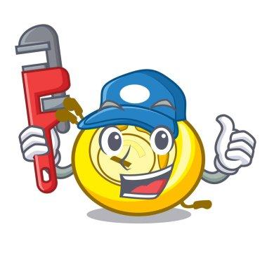 Plumber CD player mascot cartoon vector illustration