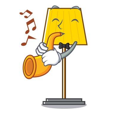 With trumpet floor lamp mascot cartoon vector illustration