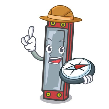 Explorer harmonica mascot cartoon style vector illustration