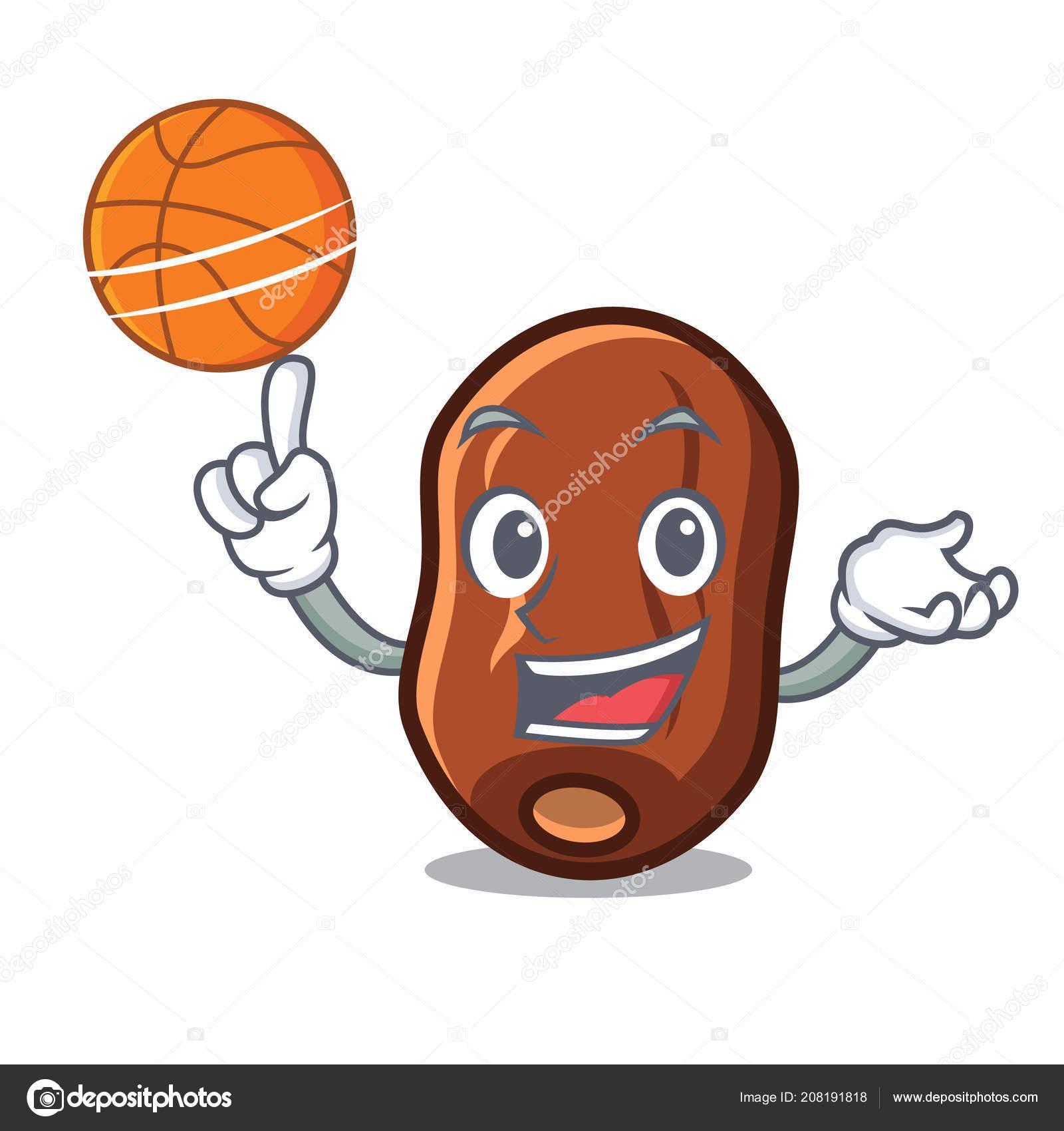 Basketbal Data Ovocny Charakter Kreslene Vektorove Ilustrace Stock