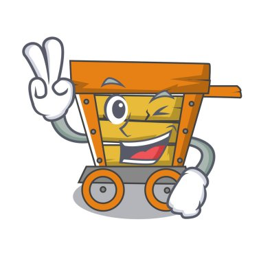 Two finger wooden trolley character cartoon