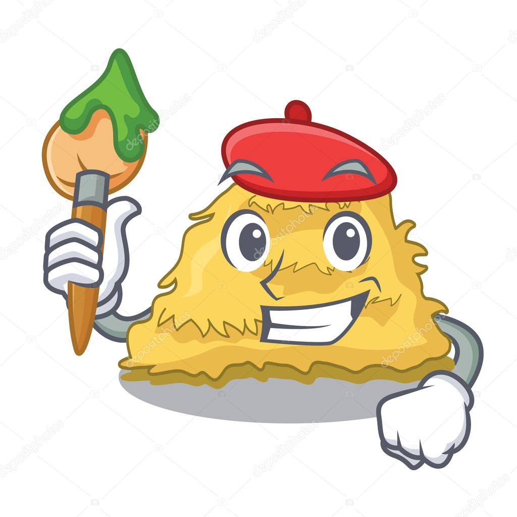 Artist hay bale character cartoon vector illustration