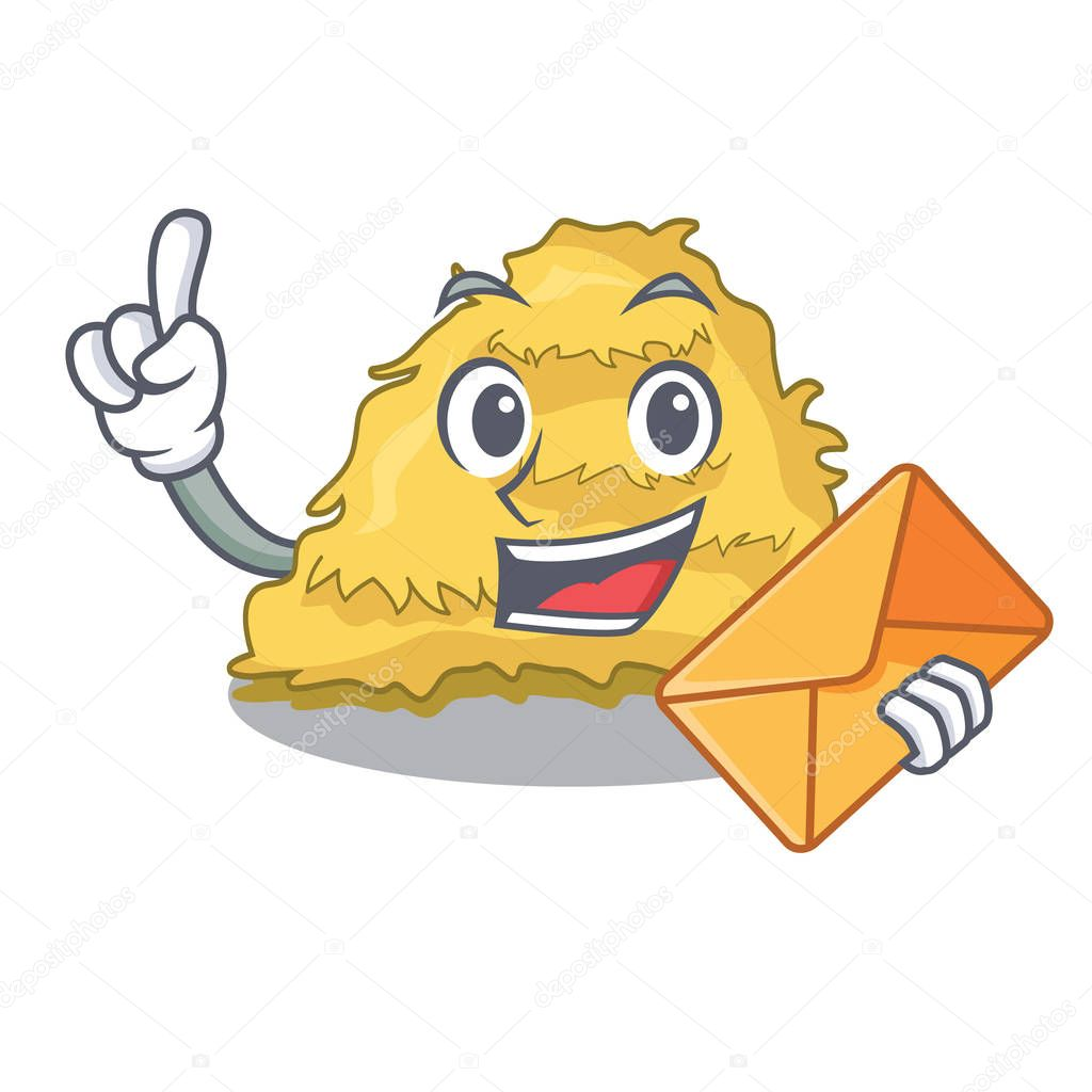 With envelope hay bale character cartoon vector illustration