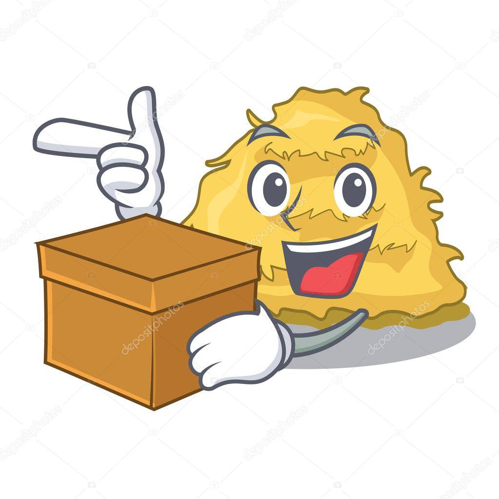 With box hay bale character cartoon vector illustration