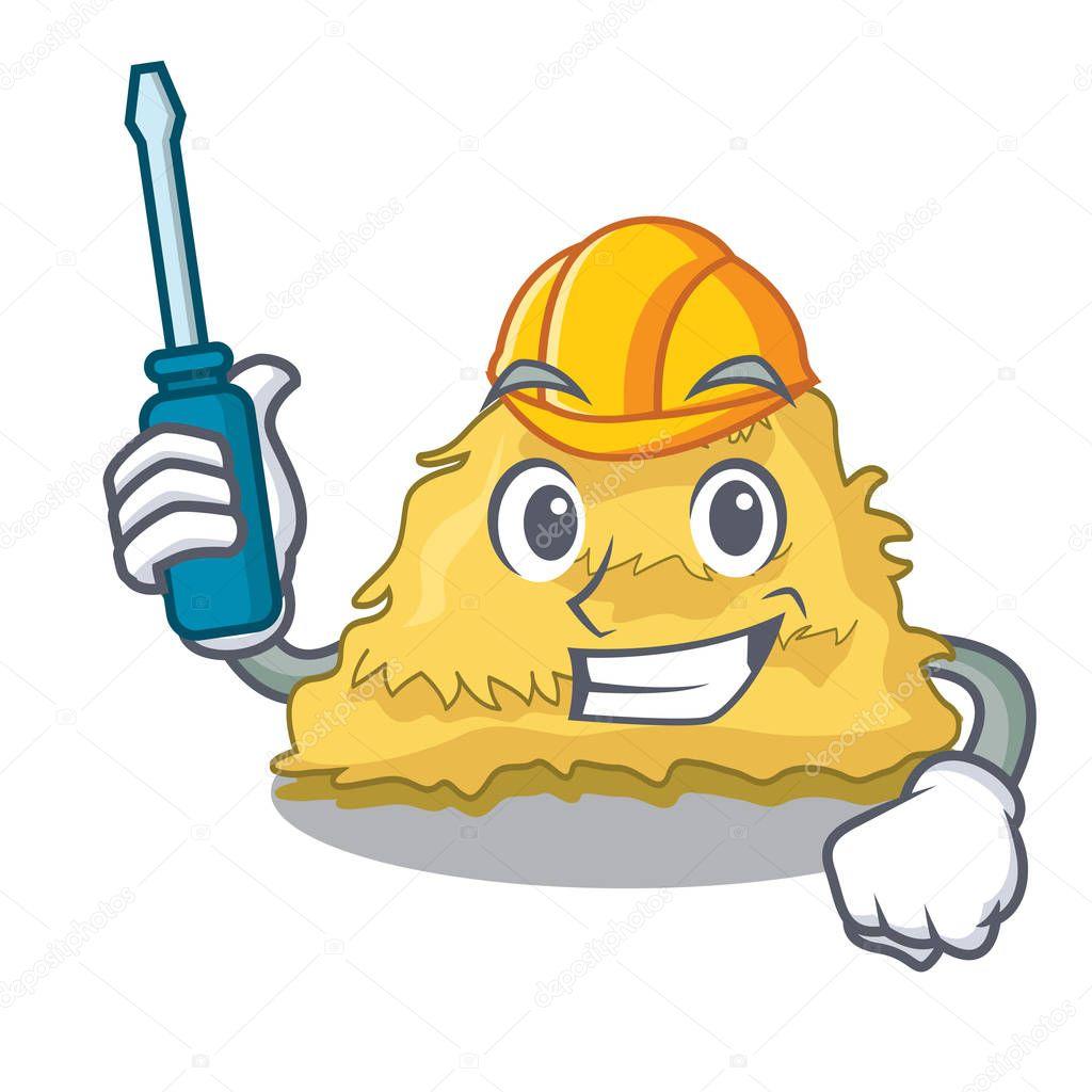 Automotive hay bale mascot cartoon vector illustration