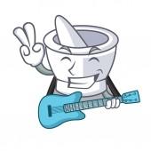With guitar mortar mascot cartoon style vector illustration