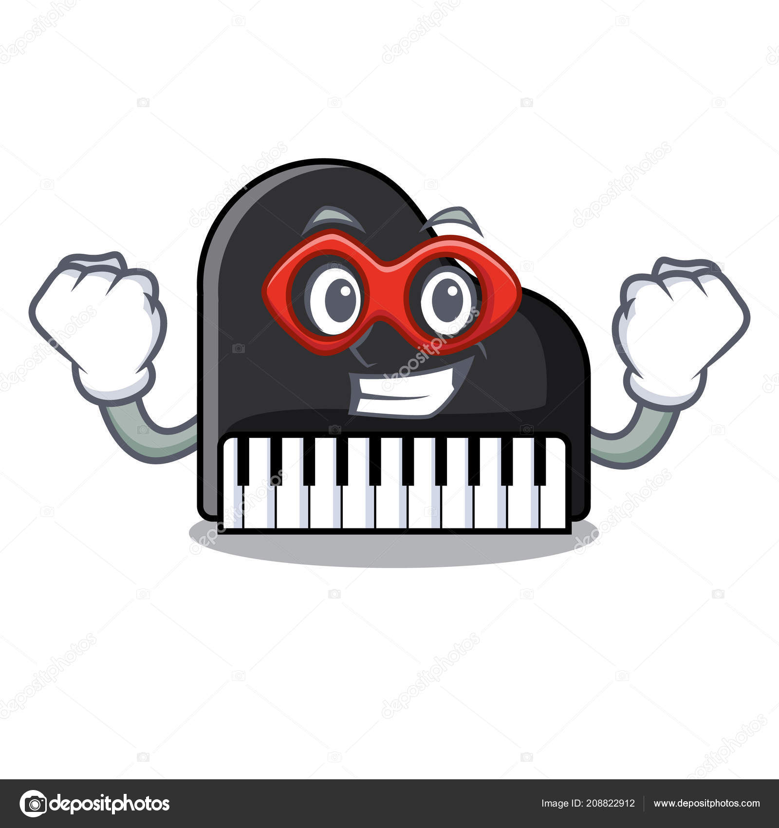 Super hero piano character cartoon style — Stock Vector