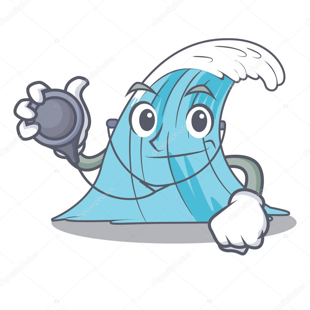 Doctor wave character cartoon style vector illustration