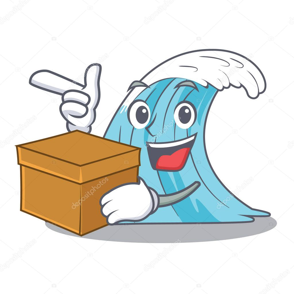 With box waves of water graphic character vector illustration