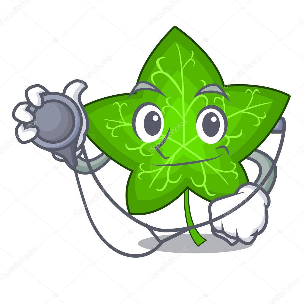 Doctor ivy leaf isolated on character cartoon vector illustration