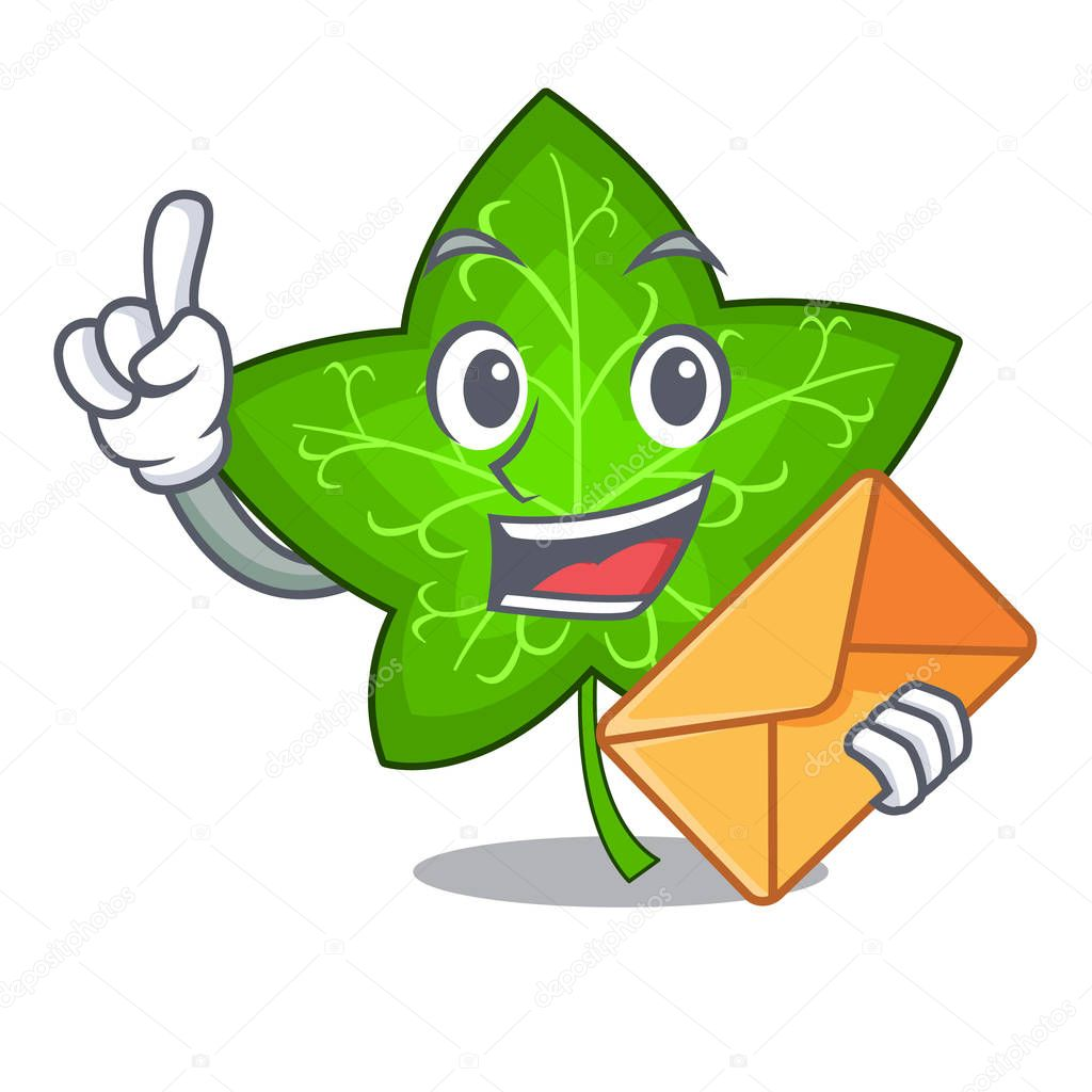 With envelope green ivy leaf on character cartoon vector illustration