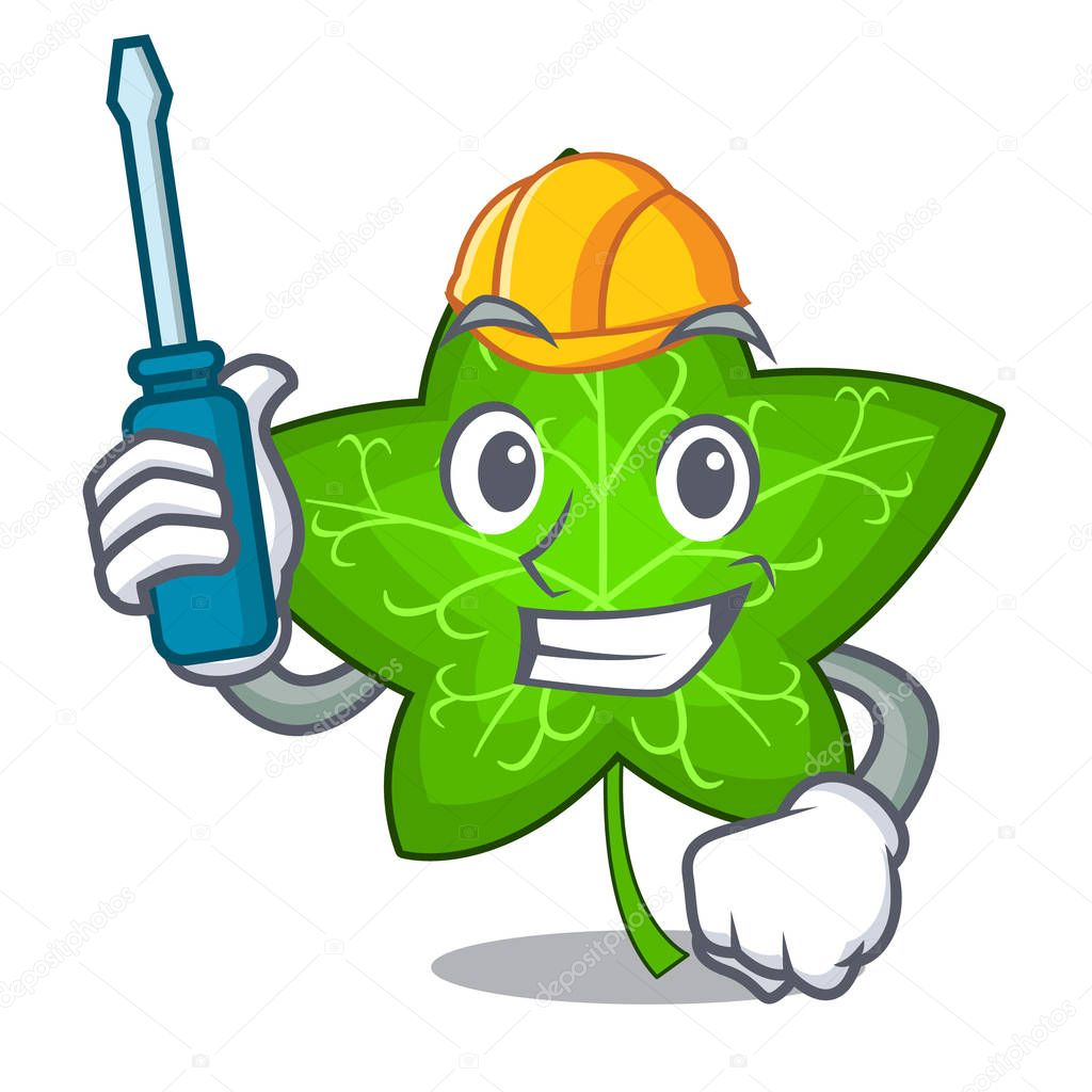 Automotive mascot cartoon beautiful ivy leaf plant vector illustration