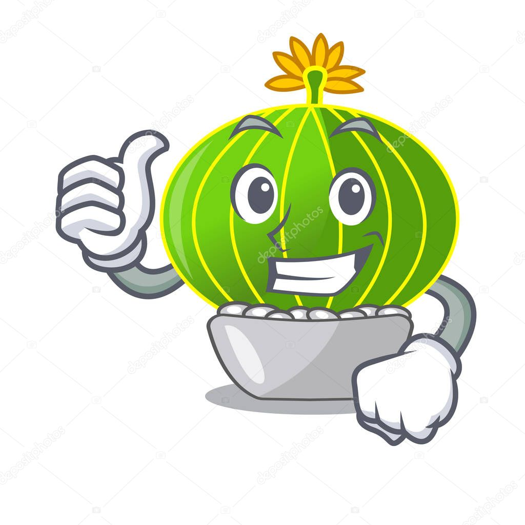 Thumbs up plant notocactus magnifica on character pot vector illustration