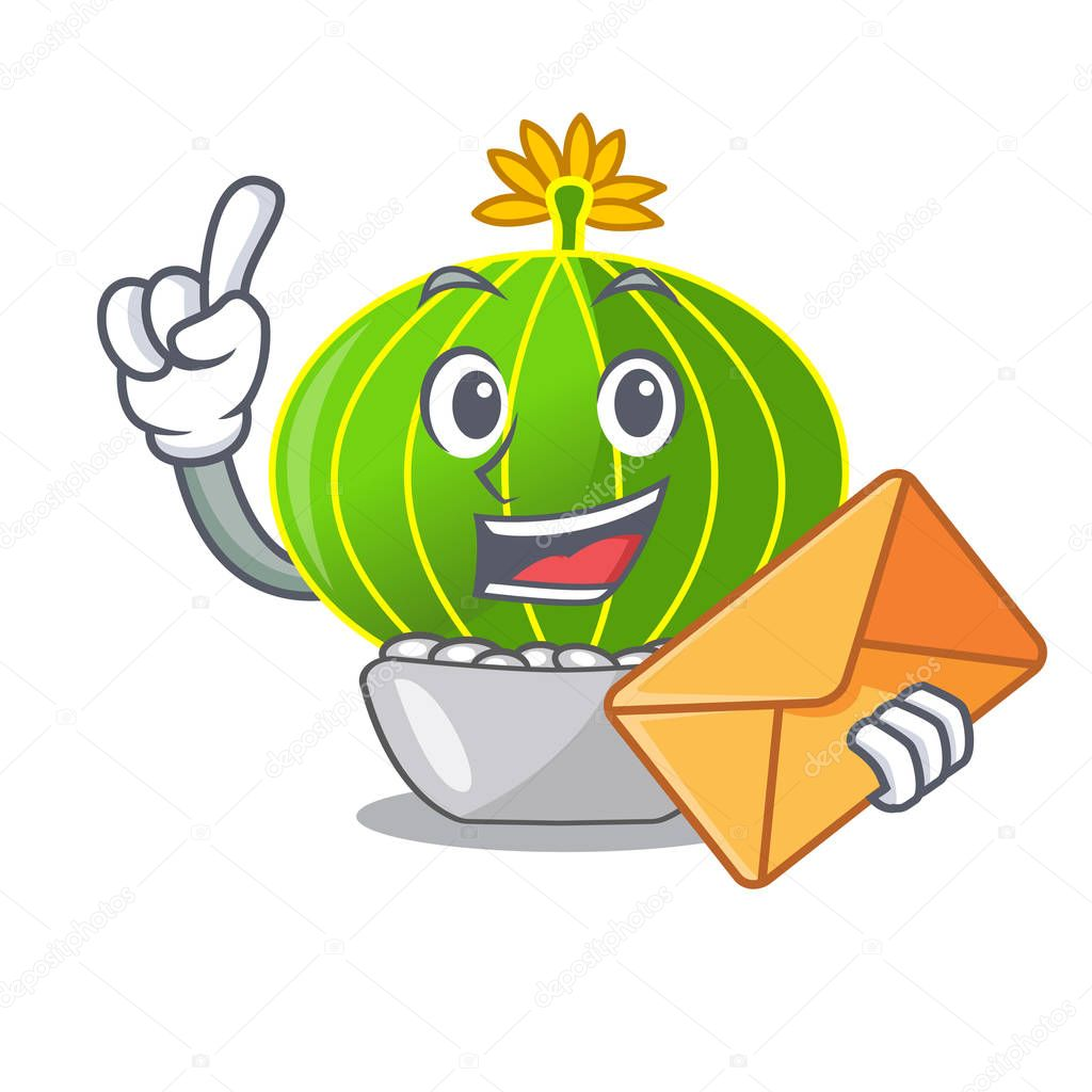 With envelope plant notocactus magnifica on character pot vector illustration