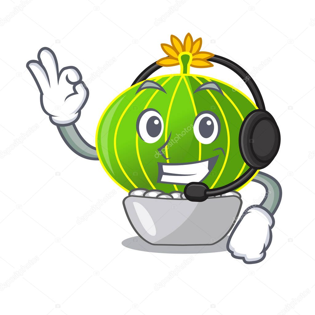 With headphone cartoon plants notocactus in the desert garden vector illustration