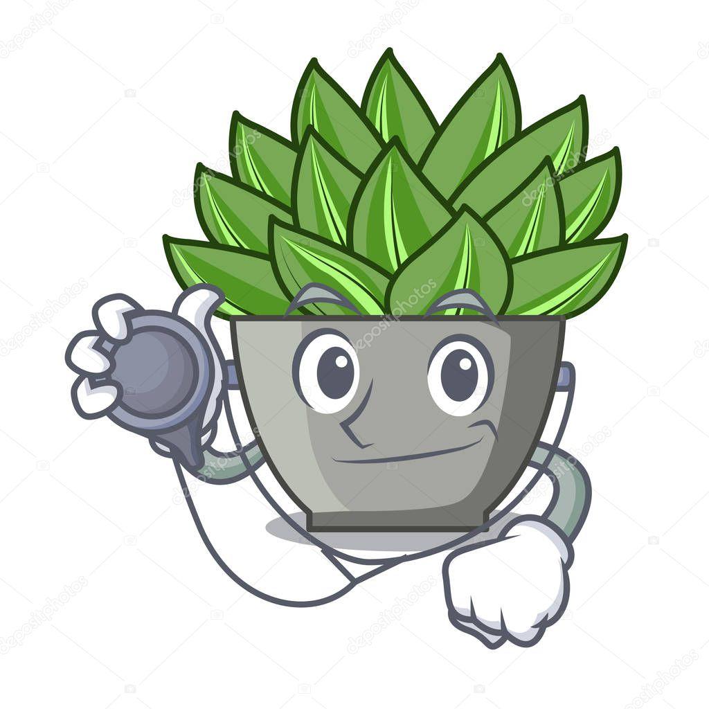 Doctor character cartoon pot plant echeveria cactus vector illustration