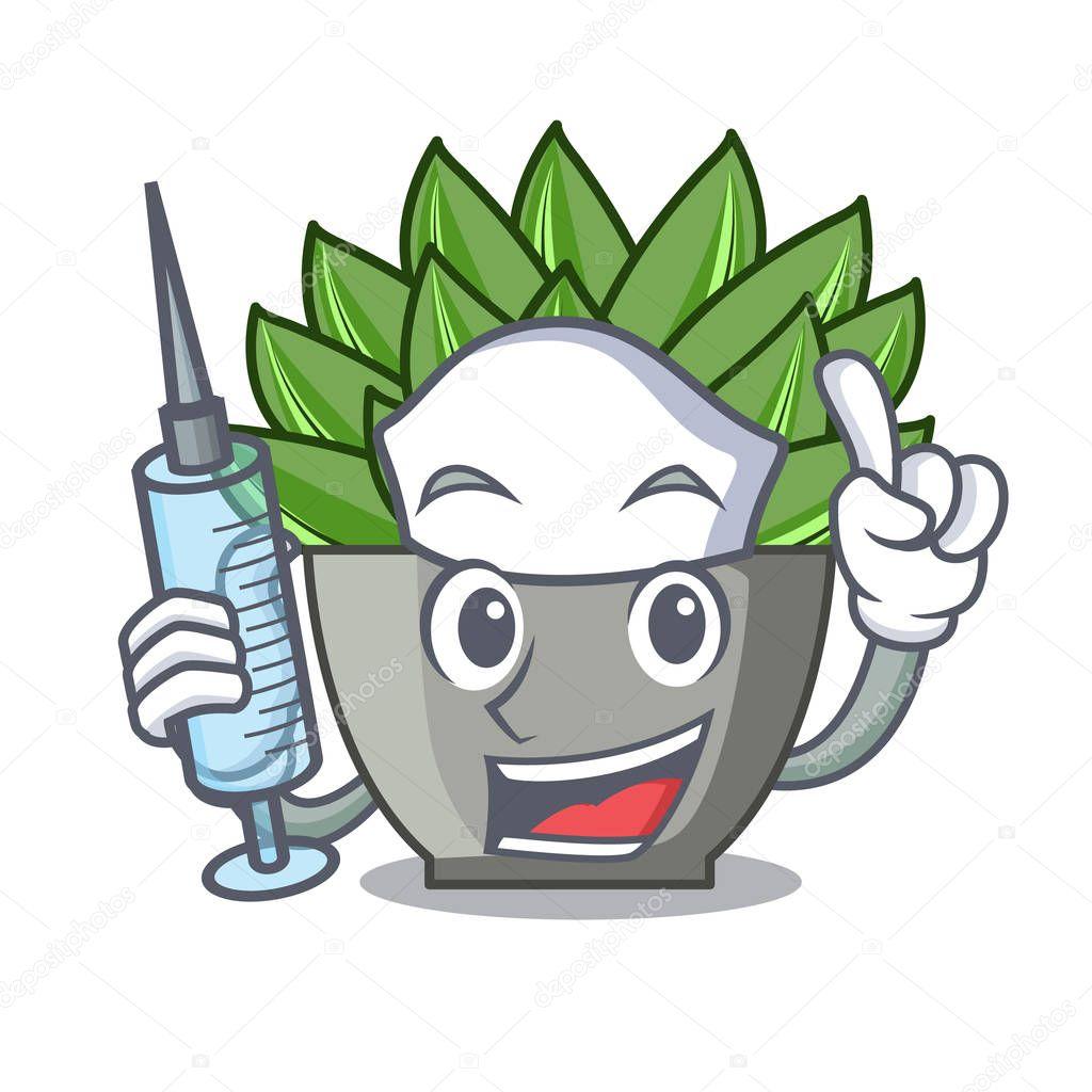 Two finger view of green echeveria cactus cartoon vector illustration