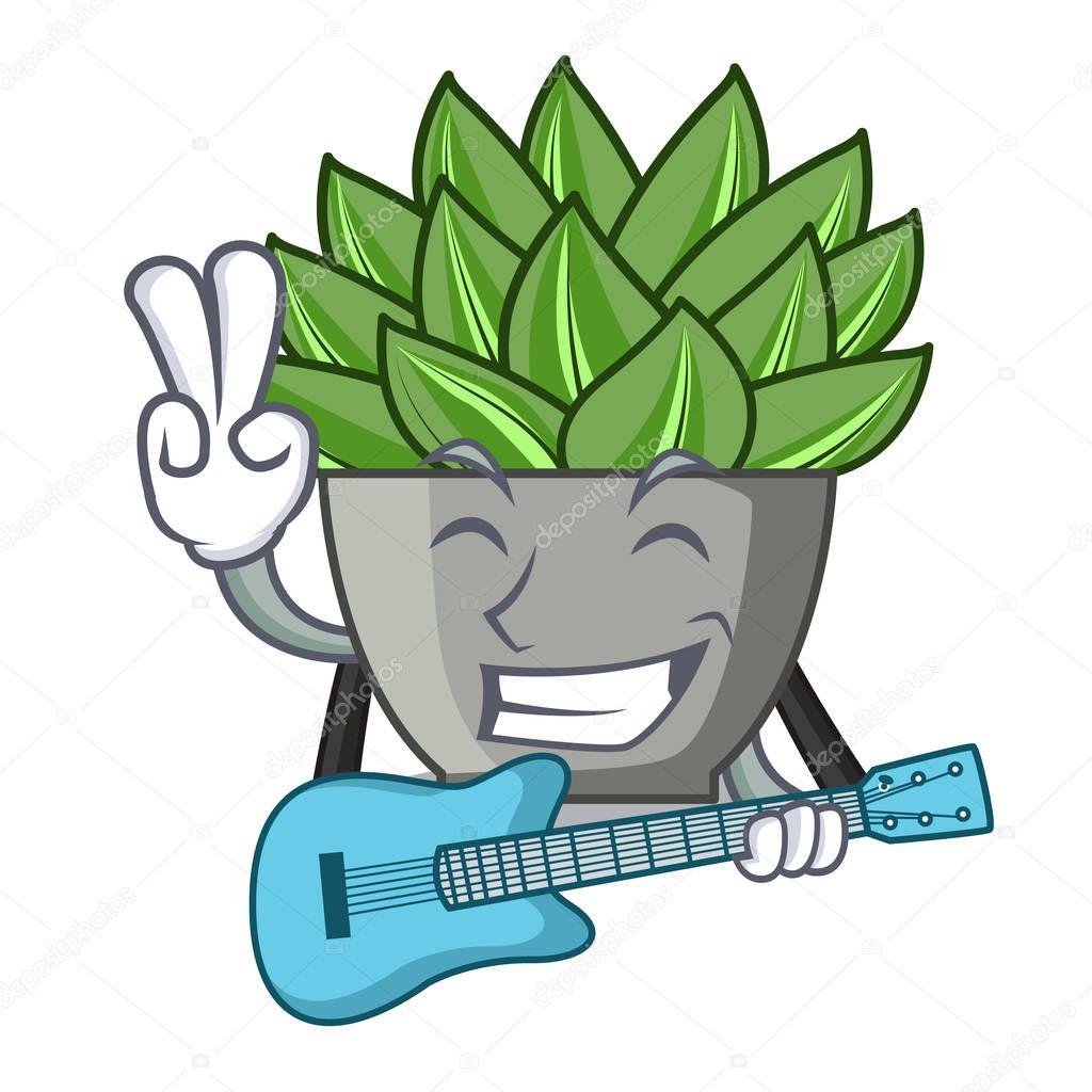With guitar cartoon echeveria cactus plant at winter vector illustration