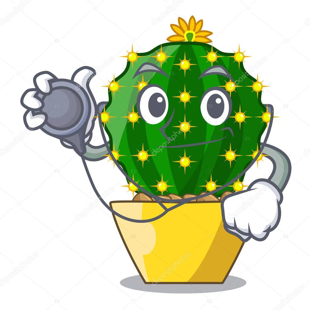 Doctor mammillaria cactus planted in a cartoon pot vector illustration