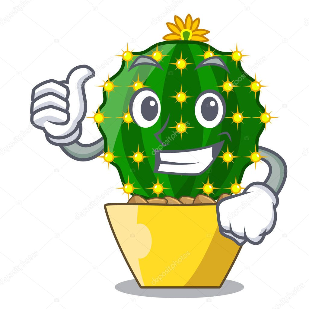 Thumbs up character mammillaria cactus at cactus farm vector illustration