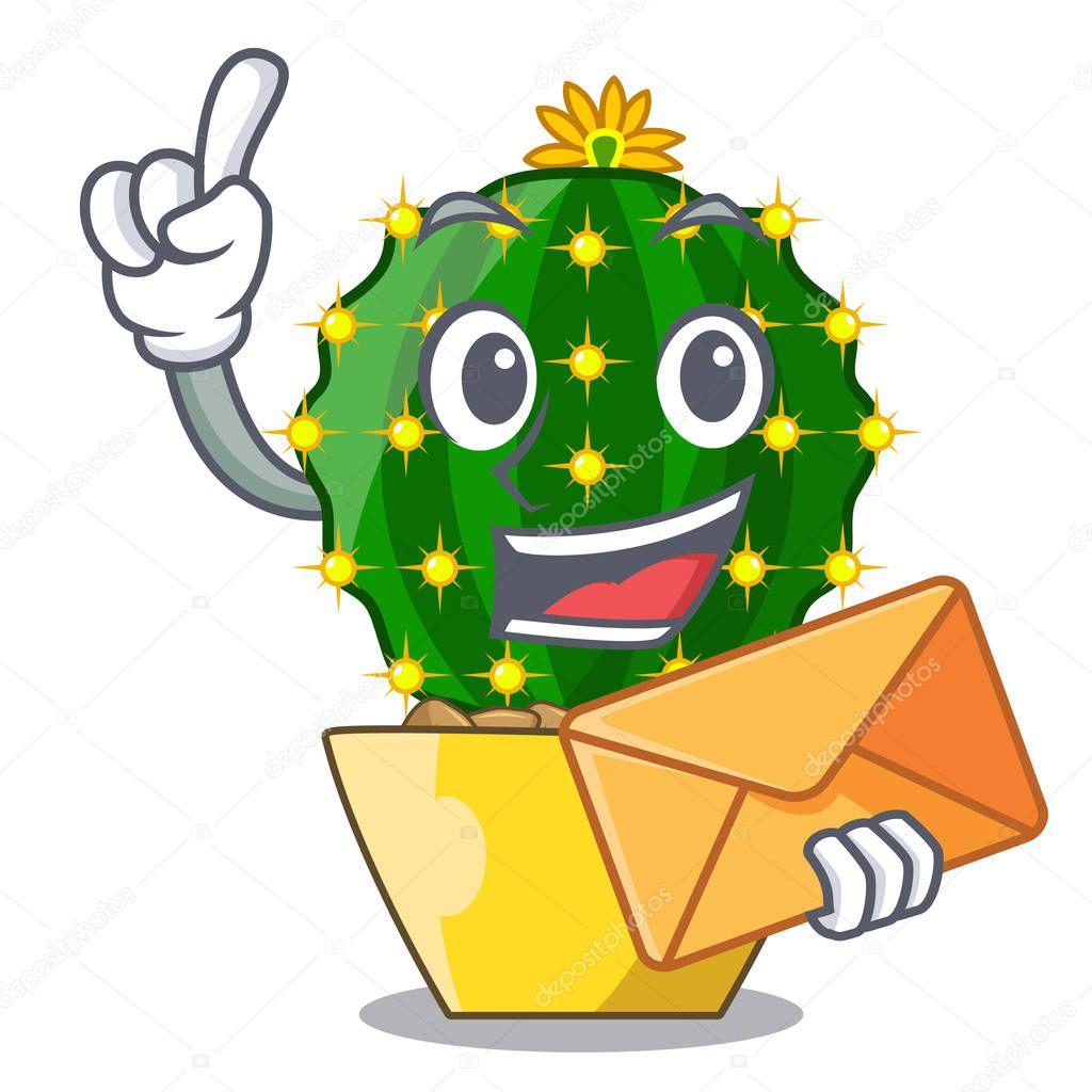 With envelope character mammillaria cactus at cactus farm vector illustration