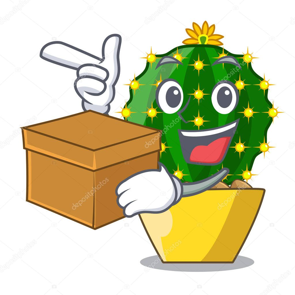 With box character mammillaria cactus at cactus farm vector illustration