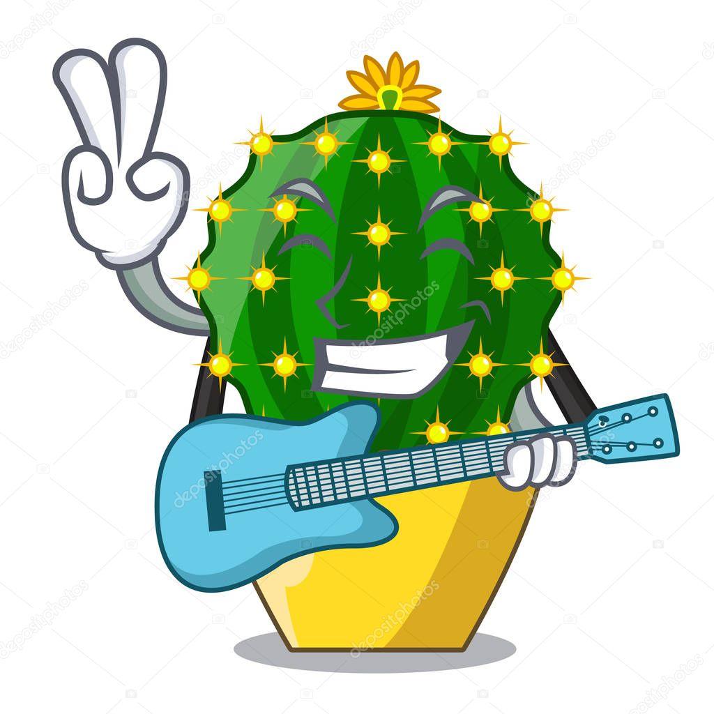 With guitar mammillaria compressa cactus isolated on the cartoon vector illustration