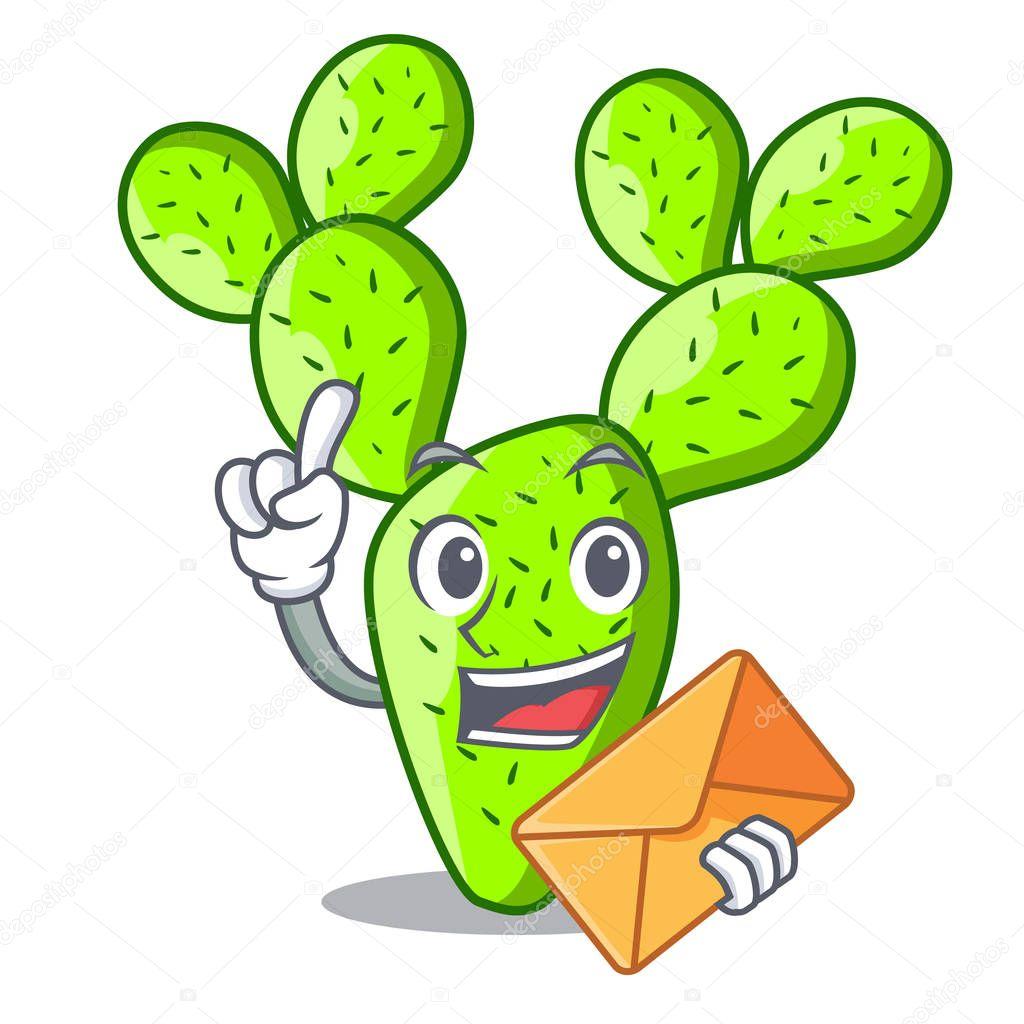 Detective cartoon opuntia cactus in the desert vector illustration