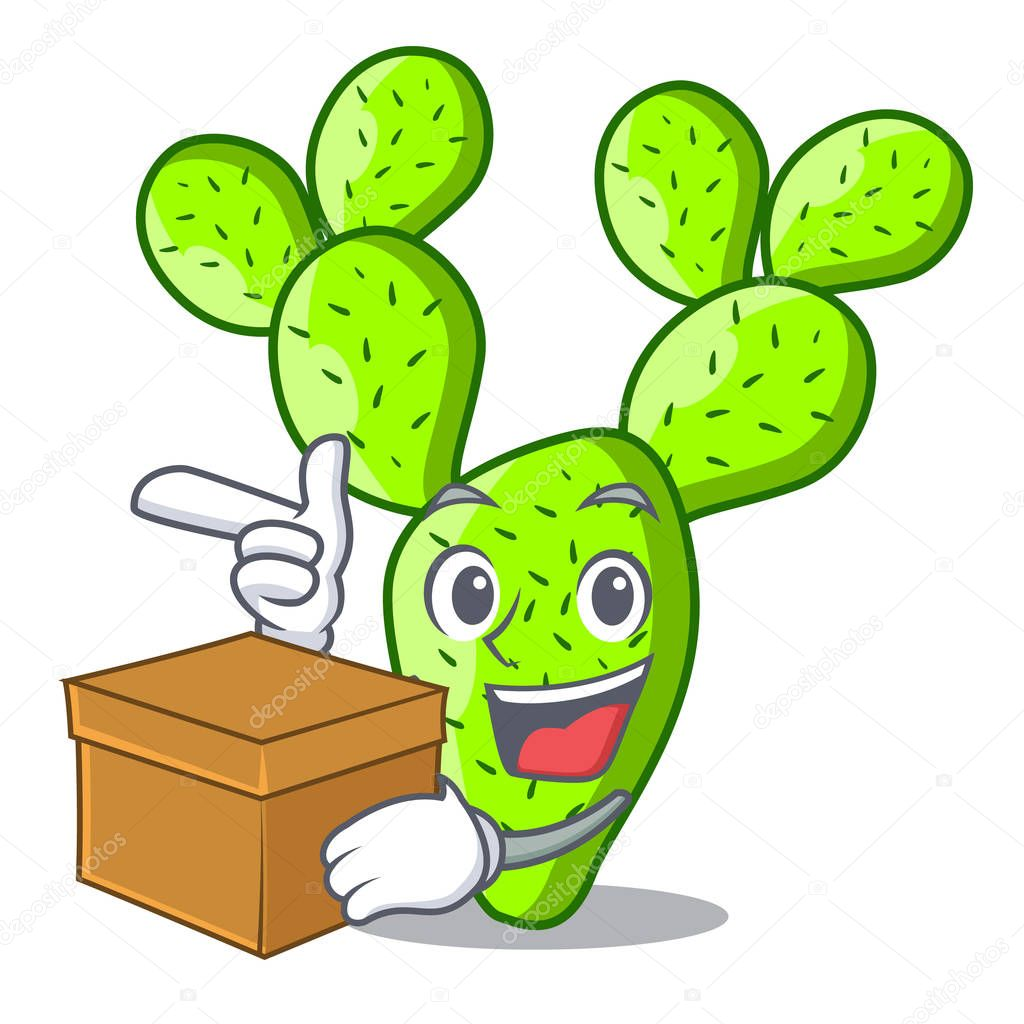 Detective cartoon opuntia cactus in the desert vector illustration