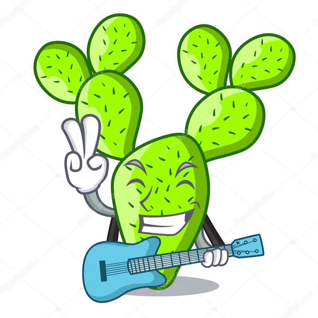 With guitar beautiful opuntia cactus in the garden vector illustration