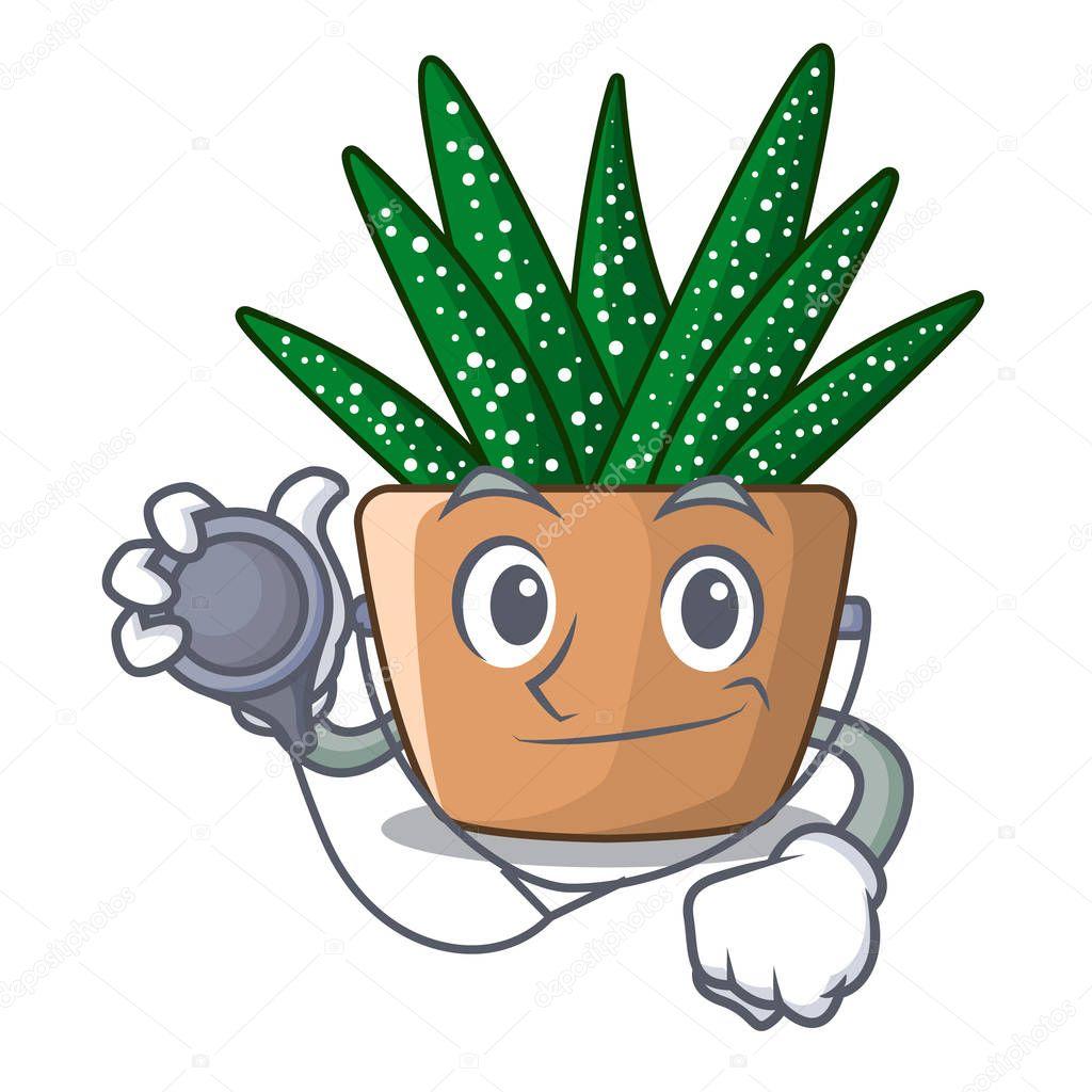 Doctor mini zebra cactus on cartoon pot vector illustration