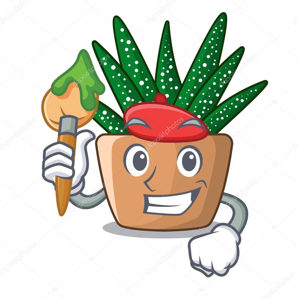 Artist mini zebra cactus on cartoon pot vector illustration