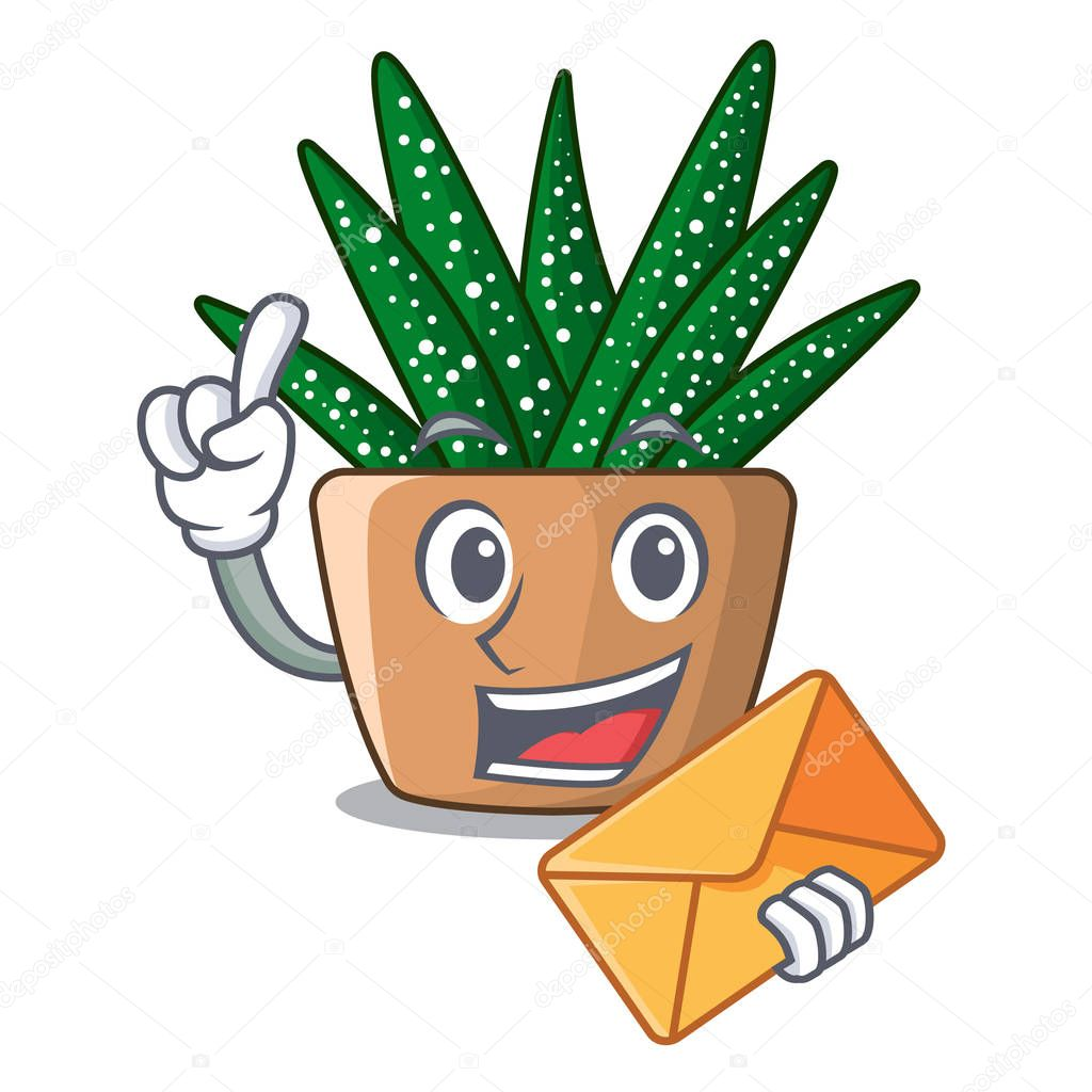 With envelope character small zebra cactus plant on pot vector illustration