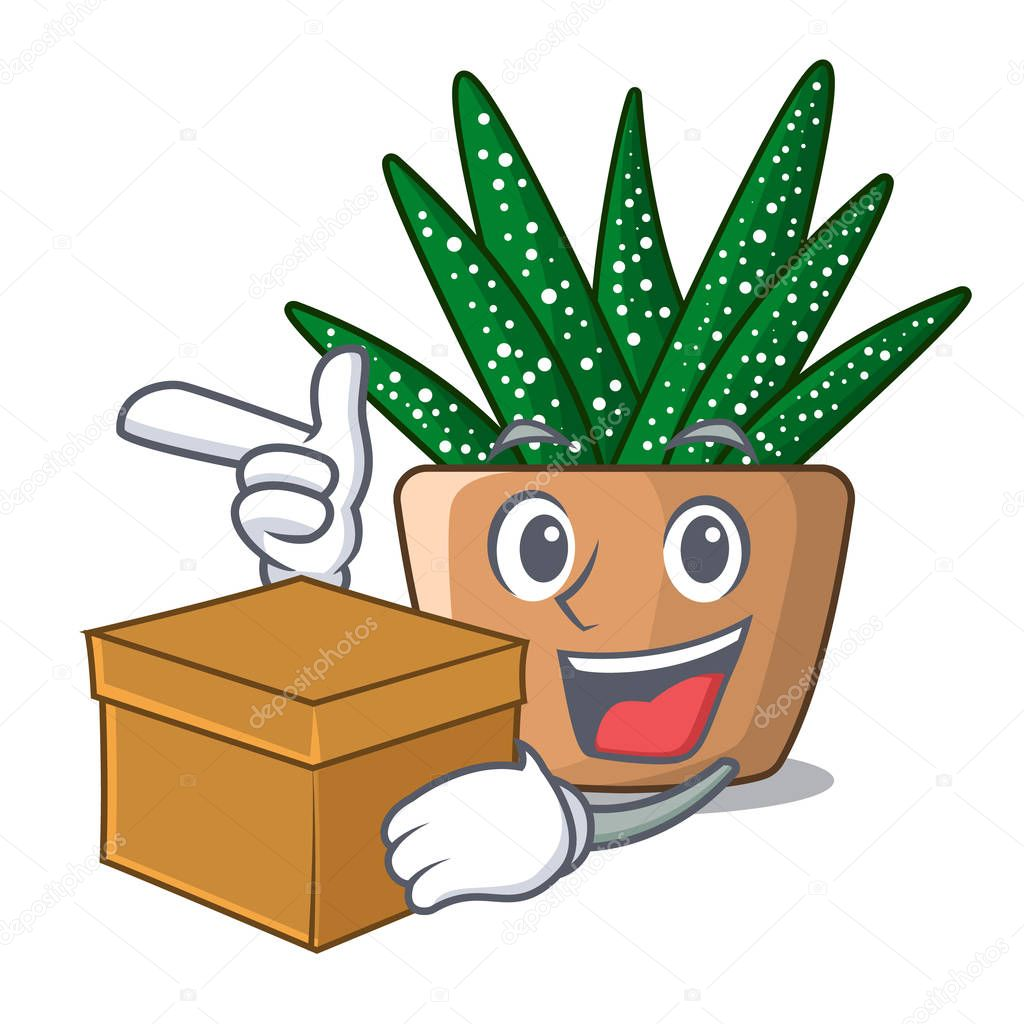 With box character small zebra cactus plant on pot vector illustration