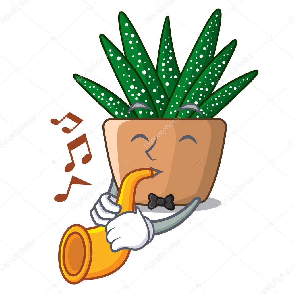 With trumpet cartoon zebra cactus blooming in garden vector illustration