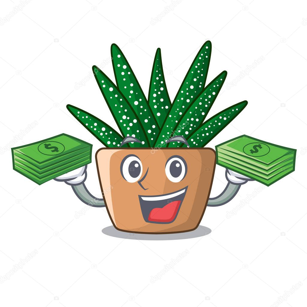 With money cartoon zebra cactus blooming in garden vector illustration