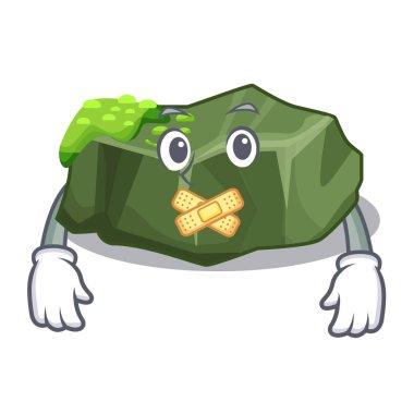 Silent green rock moss isolated on cartoon vector illustration