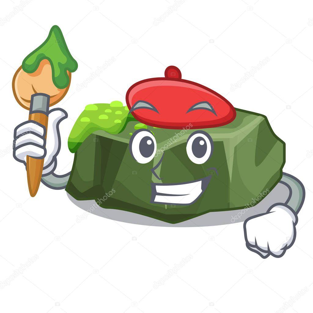Artist cartoon green rock sample of high grade vector illustration