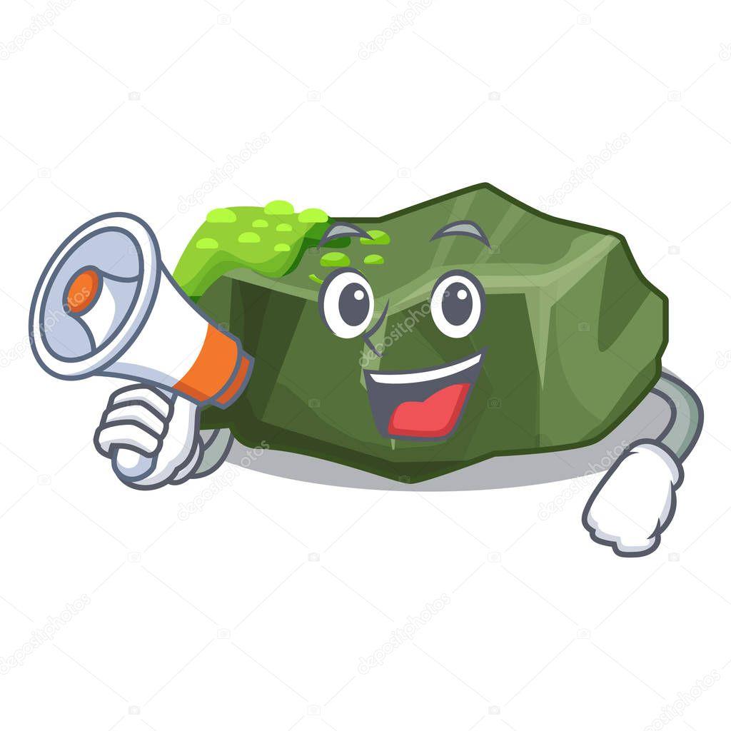 With megaphone cartoon green rock sample of high grade vector illustration