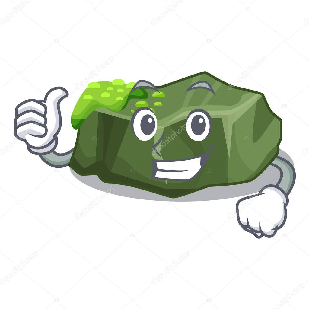 Thumbs up cartoon moss grow on sea rock vector illustration